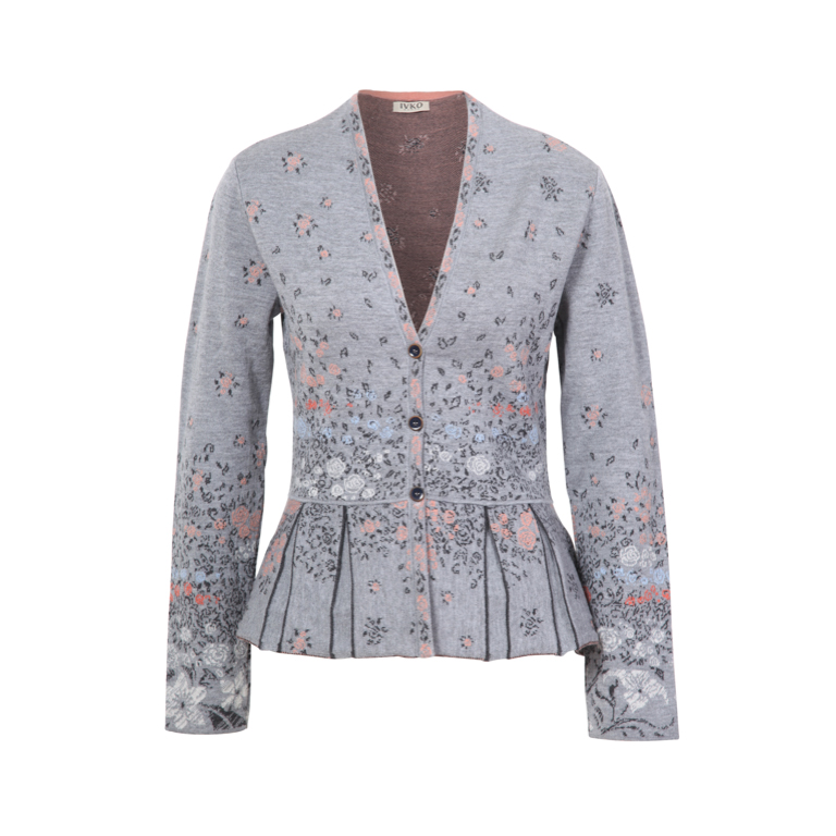 IVKO Woman Tröja Jacquard Jacket with Pleats Stone