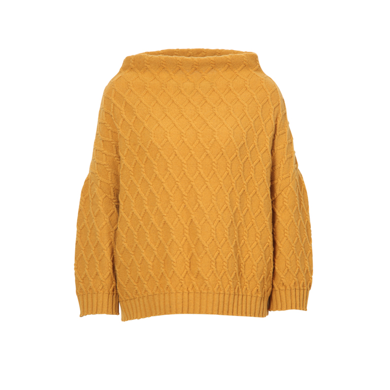 IVKO Woman Tröja Pullover Structure Pattern Mustard