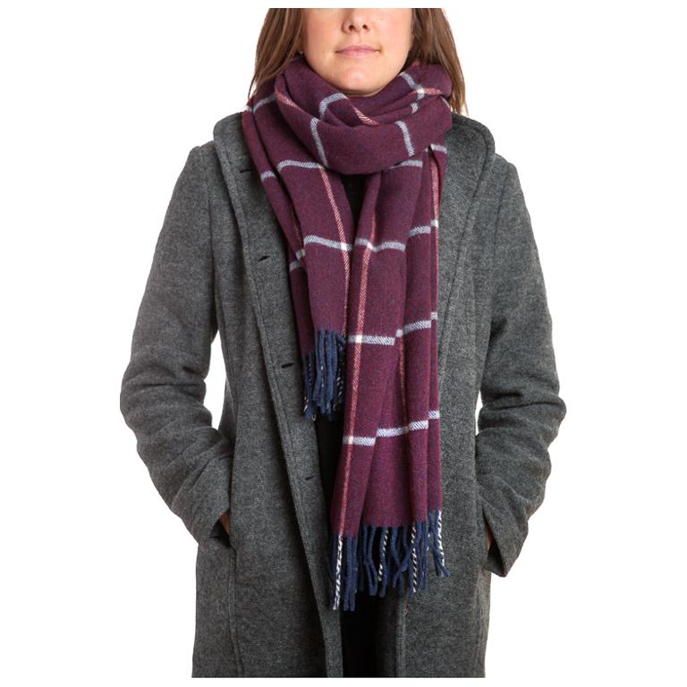 Mathlau Halsduk Wool Scarf Big Check -Purple
