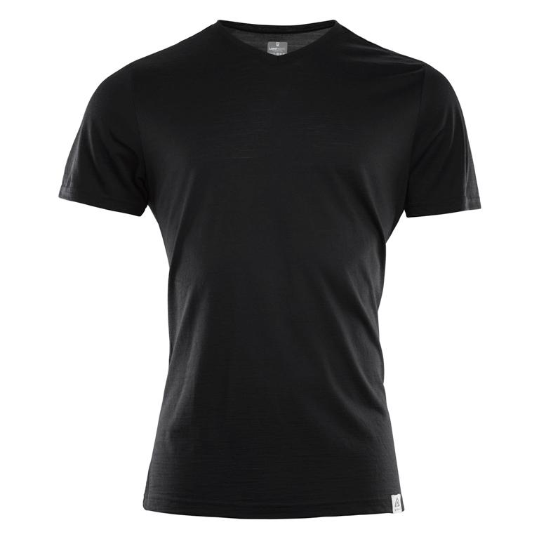 Aclima AS T-shirt LightWool T-Vneck Man -Jet Black