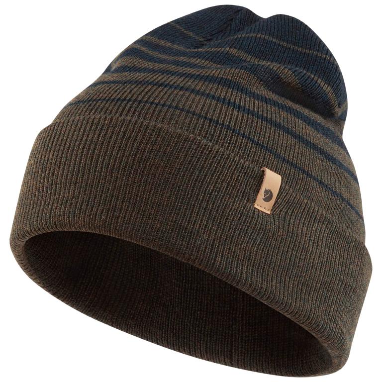 Fjällräven Mössa Classic Striped Knit Hat Dark Olive-Dark Navy