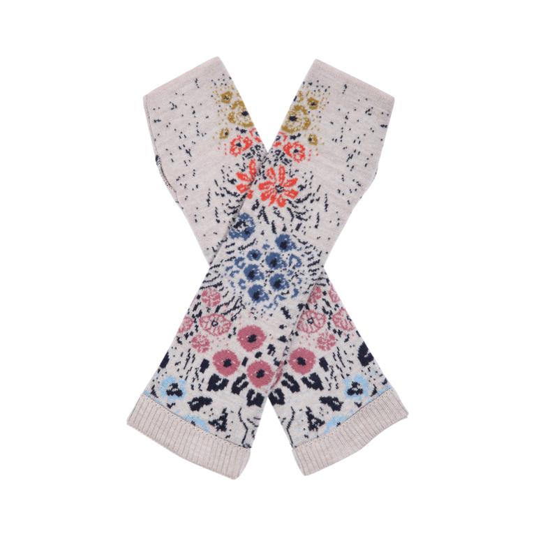 IVKO Woman Handledsvärmare Wrist Warmers Floral Pattern White