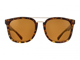 Solglasögon Norr Georg matte havana brown half gold mirror