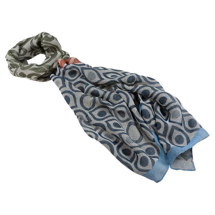 Mönstrad scarfs i modal och bomull