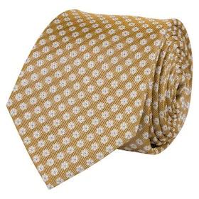 Gulvit slips i vävd siden
