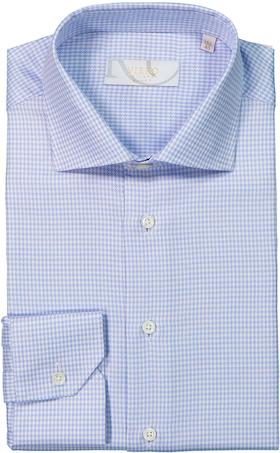 Blå/vit mönstrad skjorta