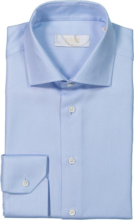 Blå skjorta med vita birdseye prickar