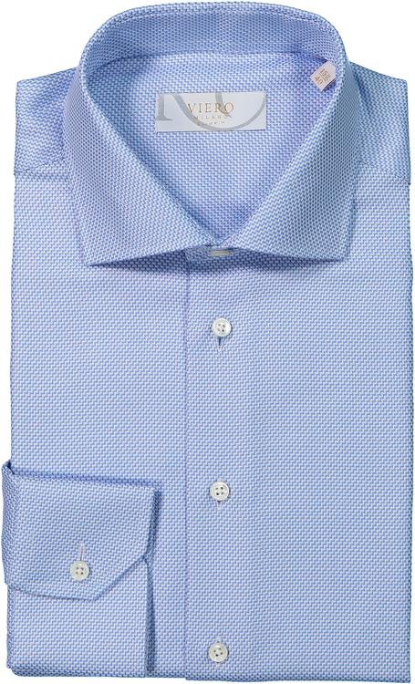 Blå skjorta med vit trappstruktur