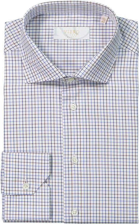 Vit skjorta med bruna och blå rutmönster.