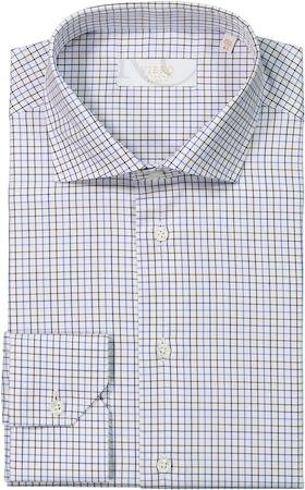 Vit skjorta med olika brun/blå rutmönster.