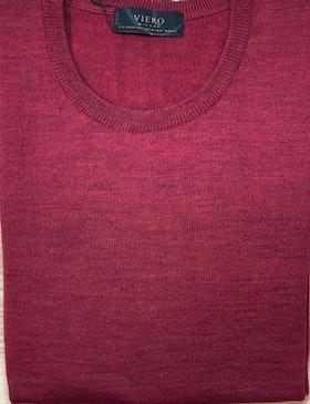 Merinoullströja crewneck röd