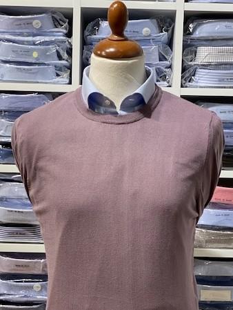 Rundhalsad tröja i Pima Cotton - ljuslila