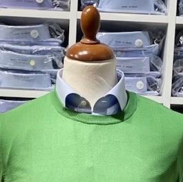 Rundhalsad tröja i Pima Cotton - ljusgrön