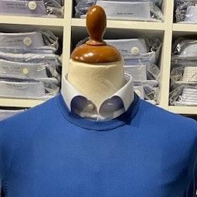 Rundhalsad tröja i Pima Cotton - blå