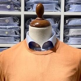 Rundhalsad tröja i Pima Cotton - orange