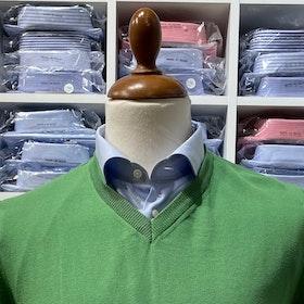 V-halsad tröja i Pima Cotton - grön