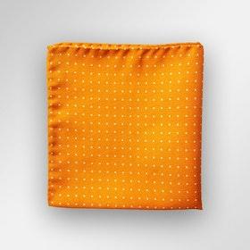 Orangeprickig bröstnäsduk i siden