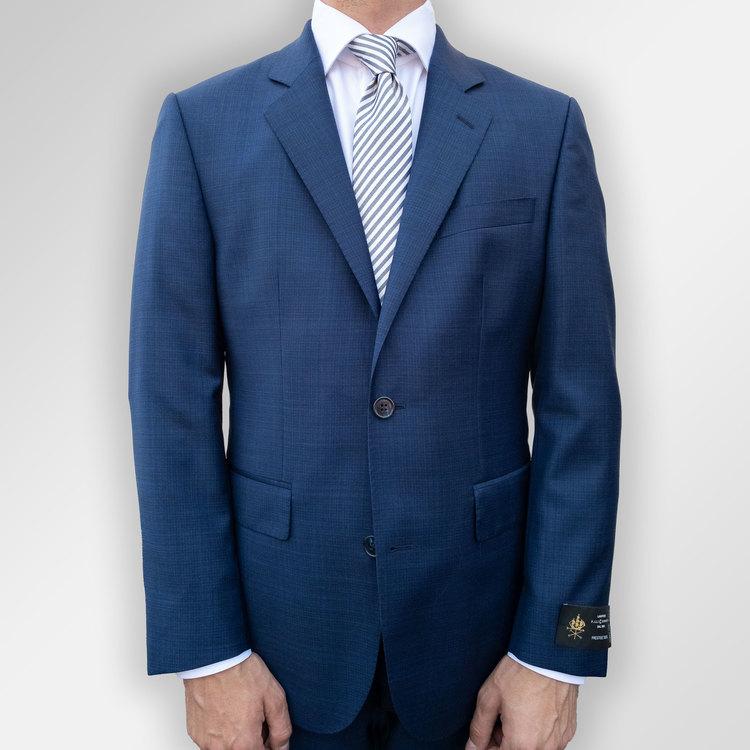 Navy smårutig kostym