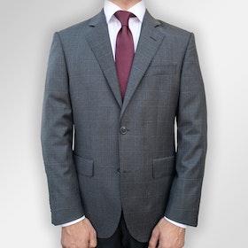 Mörkgrå kostym med svagt rutmönster