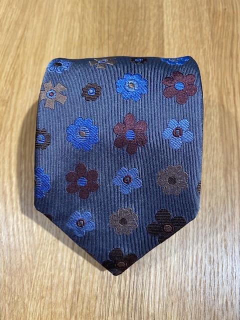 Handgjord grå/blå slips i siden