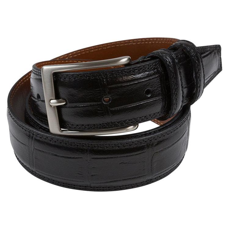 """Bälte svart """"croco"""" läder 30mm"""