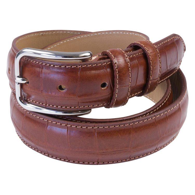 "Bälte brunt ""croco"" läder 30mm"