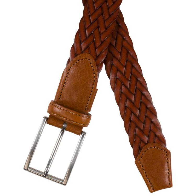 Flätat brunt läderbälte 35mm