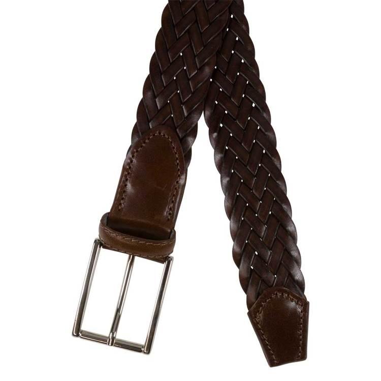Flätat cognacfärgat läderbälte 35mm