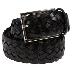Flätat svart läderbälte 35mm