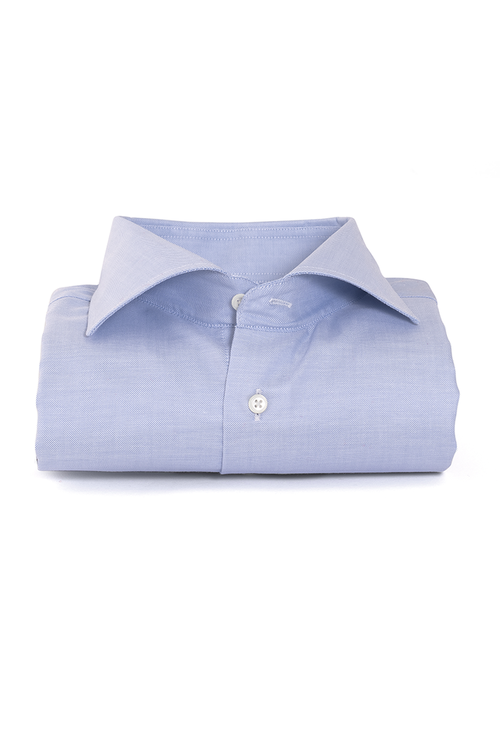 Ljusblå slimfit skjorta med dubbelmanschett