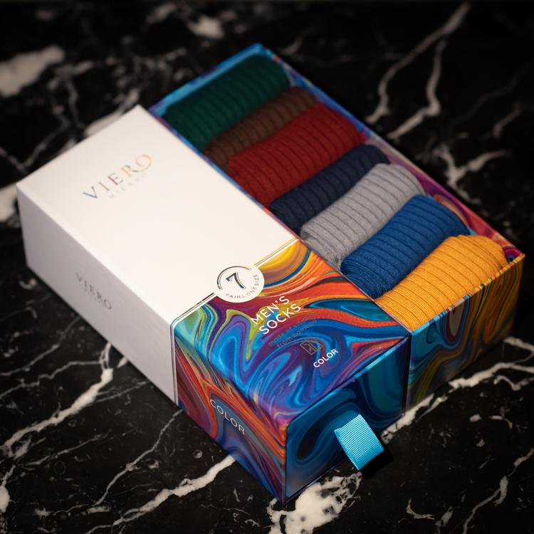 Blandade färger - strumpor i bambufibrer 7-pack
