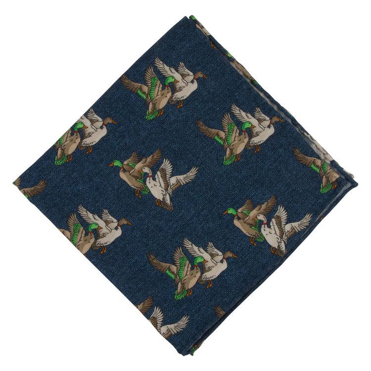 Blå Bröstnäsduk med ankor - bomull/ull