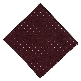 Vinröd Bröstnäsduk med vita prickar - siden