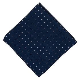 Blå Bröstnäsduk med vita prickar - siden