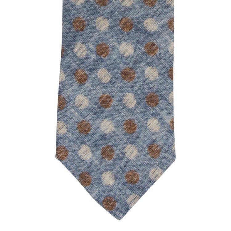 Slips ljusblå med bruna och vita prickar i bomull/linne