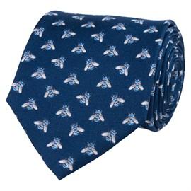 Slips blå med humlor silk/twill