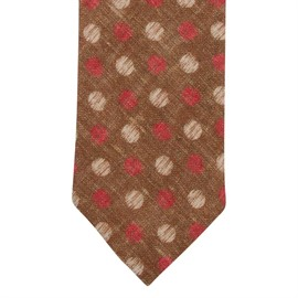 Slips ljusbrun med röda och ljusa prickar i bomull/linne