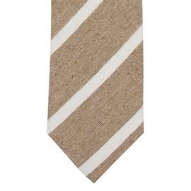 Slips randig beige silk/linne/bomull