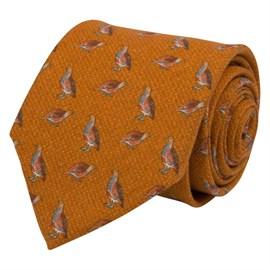 Slips orange med fåglar ull/bomull