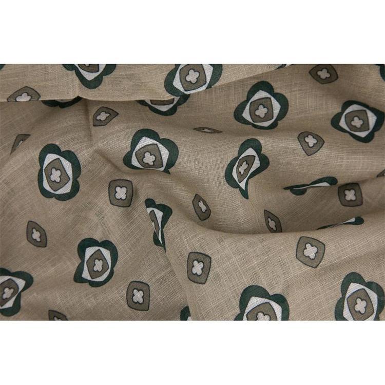 Scarf beige blommig bomull/linne
