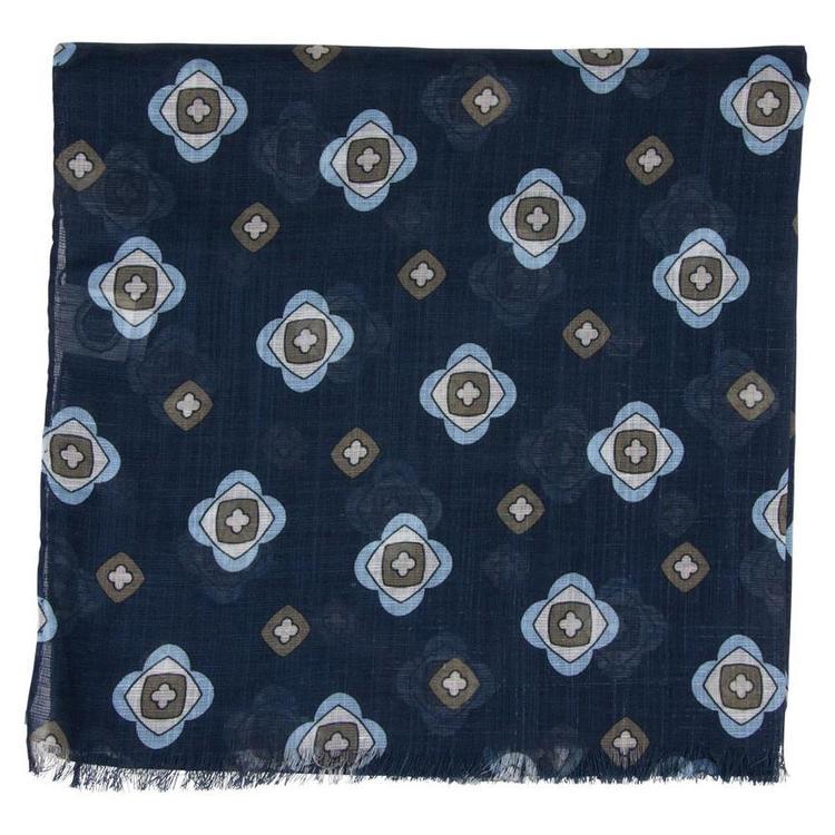 Scarf blå blommig bomull/linne