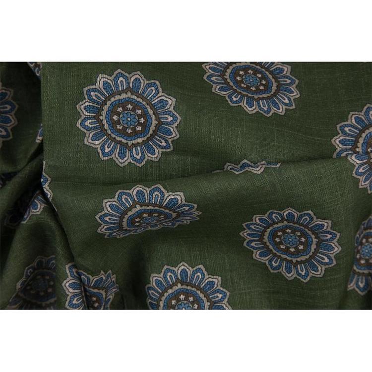 Scarf grön blommig bomull/linne