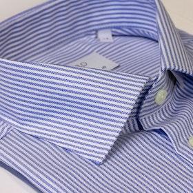 Vit skjorta med blå ränder, Oxford, 2-ply