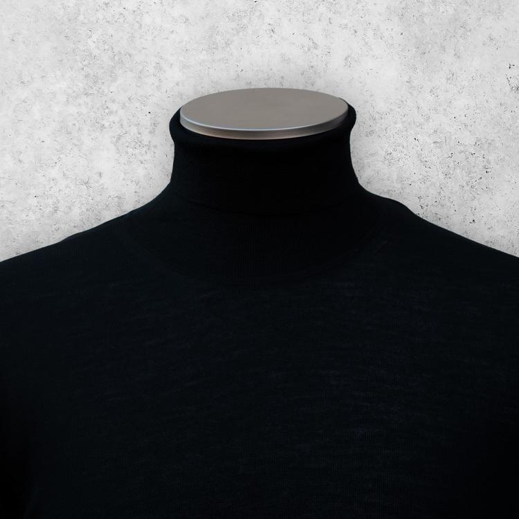 Merinoullströja svart turtleneck