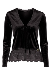 Pearl Velour Cardigan Black