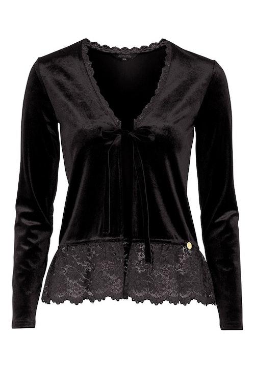 Pearl Velour Cardigan Black