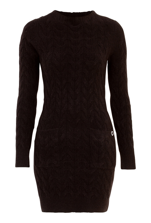Kira Cable Sweater Dress Black