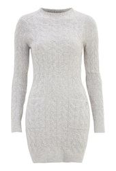 Kira Cable Sweater Dress Grey Melange