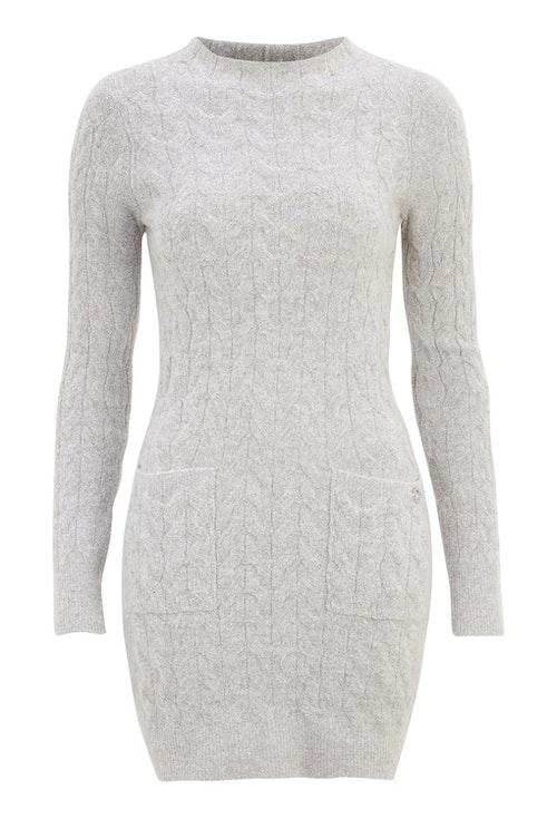 Kira Cable Sweater Dress Grey Melange