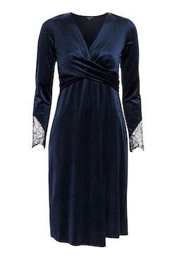 Leonora Velour Dress Dark Blue